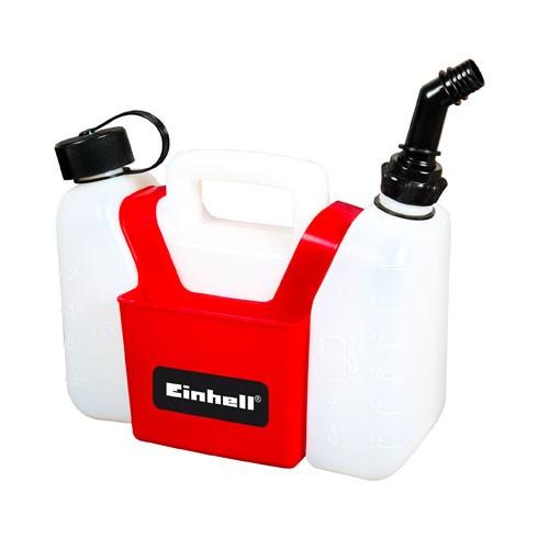 Einhell Bidón/Recipiente con compartimentos para gasolina y aceite (3 l de gasolina, 1,25 l de aceite) - 4501325