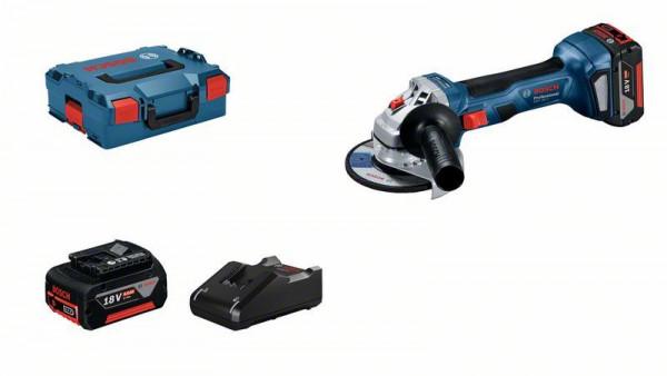 Bosch Professional Akku-Winkelschleifer GWS 18V-7 mit 2 x Akku GBA 18V 4.0Ah, Schnellladegerät, in L-BOXX - 06019H9005