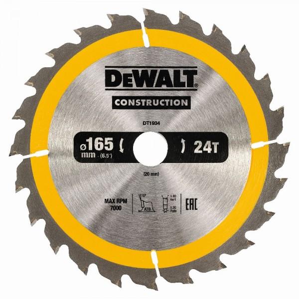 DeWALT Lama per seghe circolari portatili, 165/20 mm, 24 denti - DT1934-QZ