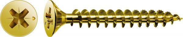 Spax Universalschraube, 3 x 25 mm, 200 Stück, Vollgewinde, Senkkopf, Kreuzschlitz Z1, S-Spitze, YELLOX - 1081020300253