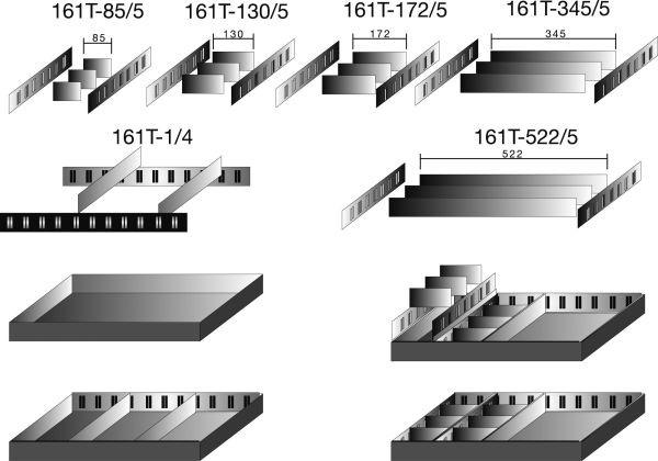 Hazet Schubladen-Unterteilung - Anzahl Werkzeuge: 5 - 161T-347X120/5