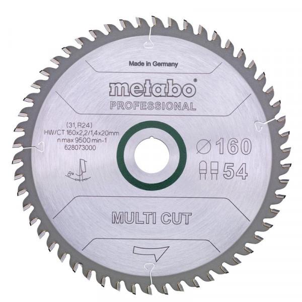 Metabo Hoja de sierra circular HW/CT 160 x 20 x 2,2/1,4, nº de dientes 54, diente plano-trapezoidal, ángulo de desprendimiento de virutas 8° (628073000)