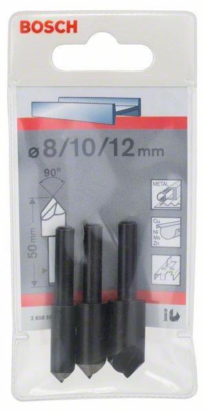 Bosch Kegelsenker-Set, 3-teilig, 50 mm / 6 - 8 mm / 8, 10, 12 mm