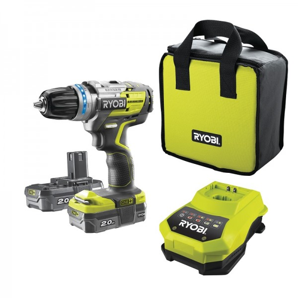 Ryobi Trapano Avvitatore a Percussione Brushless (2x2,0Ah) - R18PDBL-220S