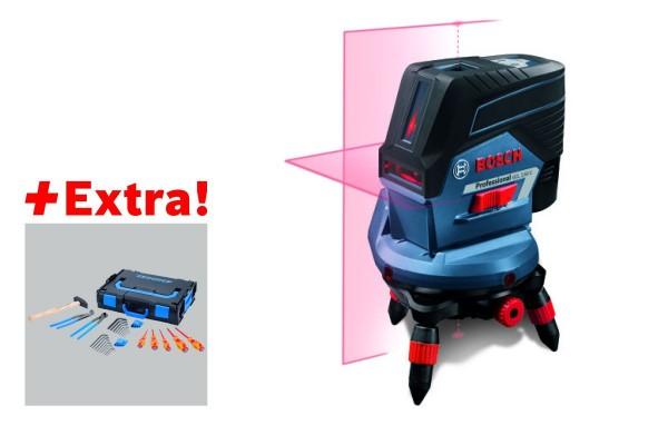 Bosch Professional Professional set combilaser GCL 2-50 C + snellaadapparaat GAL 1230 CV + 1 x accu GBA 12V 2.0Ah + wandhouder BM 3 + draaihouder RM3 + afstandsbediening RC2 + laserrichtbord + opbergetui in L-BOXX 238 +