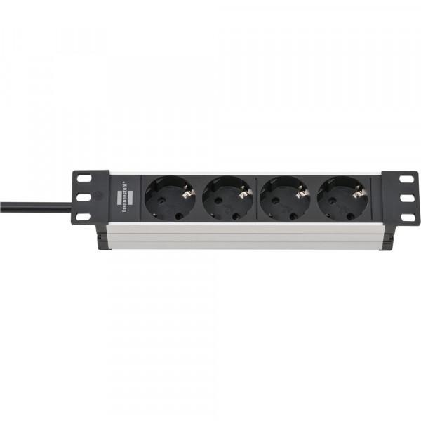 Brennenstuhl Alu-Line 10 Zoll Steckdosenleiste 4-fach mit Kinderschutz, 2 m Kabel - 1390007004