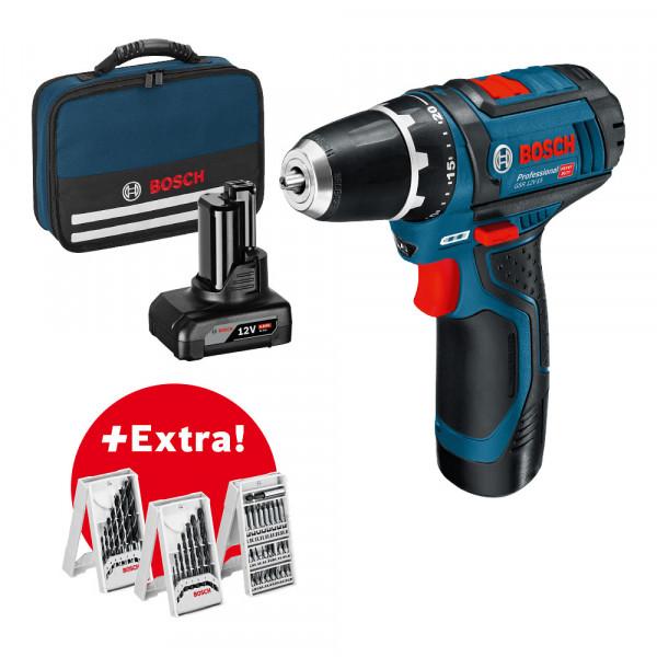 Bosch Professional GSR 12V-15 Perceuse Visseuse sans fil inclu. 2 batteries, chargeur et accessoires 39 pcs - 0615990G6L