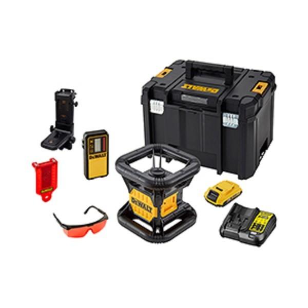 DeWALT Laser rotante con raggio rosso, batteria, caricabatterie - DCE074D1R-QW