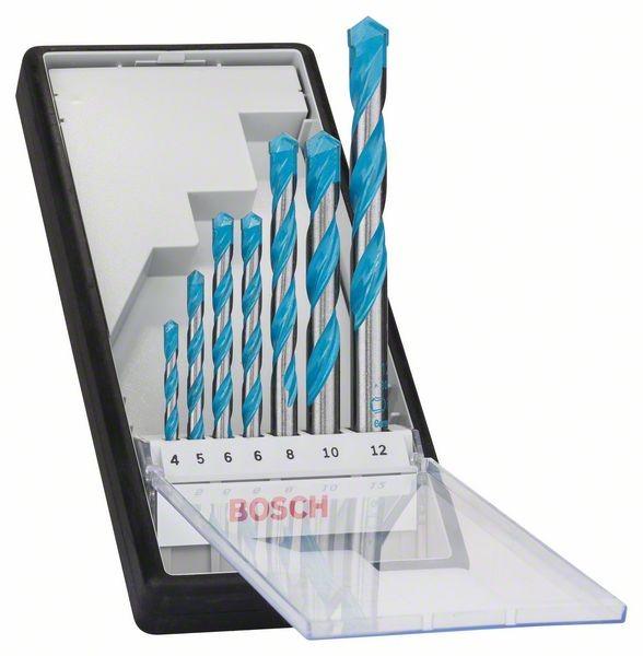 Bosch Forets polyvalents Robust Line Multi Construction, set de 7 pièces 4, 5, 6, 6, 8, 10, 12 mm