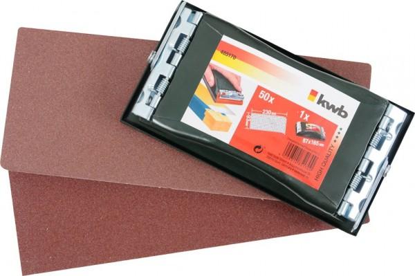 KWB PROFESSIONELE handschuurset, met 50 schuurstroken 93 x 230 mm - 485170