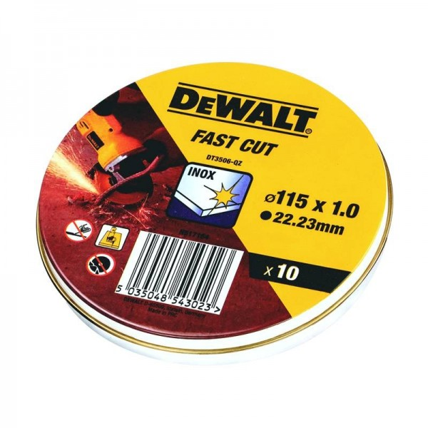 DeWALT Dischi abrasivi per taglio inox 115 mm x 1.0 mm, 10 pezzi - DT3506-QZ
