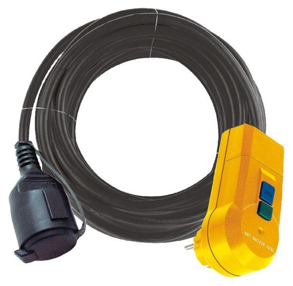 Brennenstuhl Cable adaptador de protección FI IP44, 2m negro H07RN-F 3G1,5 - 1160370