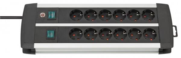 Brennenstuhl Premium-Alu-Line Technik Steckdosenleiste 12-fach Duo schwarz 3m H05VV-F 3G1,5 6-fach schaltbare Steckdosen