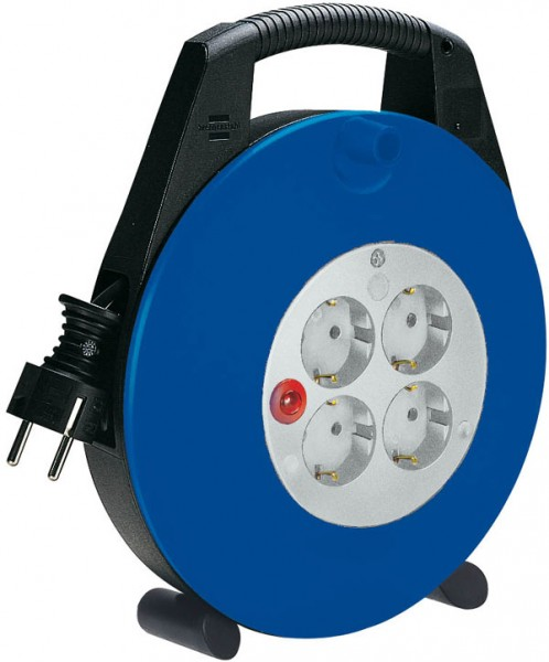 Brennenstuhl Enrollacables Vario Line 4-tomas, 10m H05VV-F 3G1,5, negro/azul/gris - 1093230