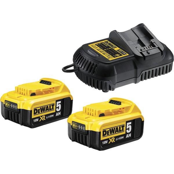 DeWALT Kit de démarrage avec chargeur DCB115P2-QW et batteries (2x18V/5Ah plus DCB115)