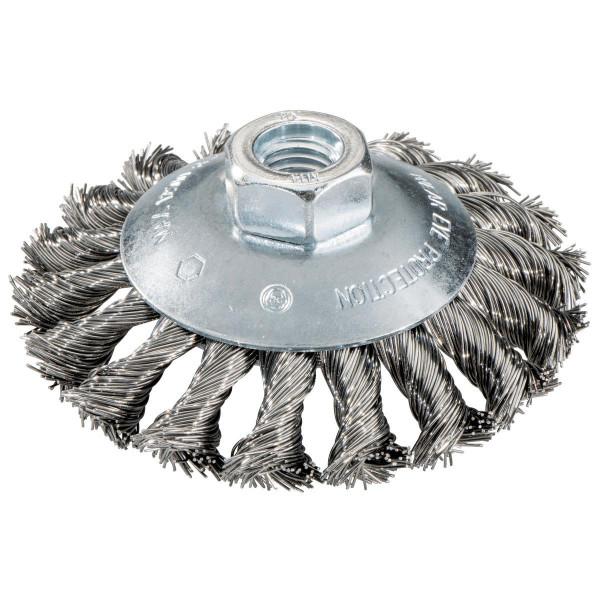 Metabo Cepillo redondo 100x0,5x10 mm/ M 14, alambre de acero ondulado, modelo acodado, grosor del alambre 0,50 mm - 623803000