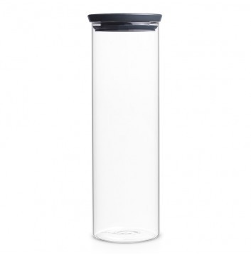 Brabantia Bocal en verre empilable, 1.9 litre - Dark grey