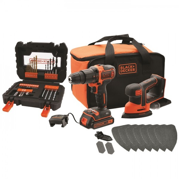 Black & Decker 18V Combo-Kit: Perceuse à percussion, Ponceuse-Mouse, Set d'accessoires - BCK23S1SA41