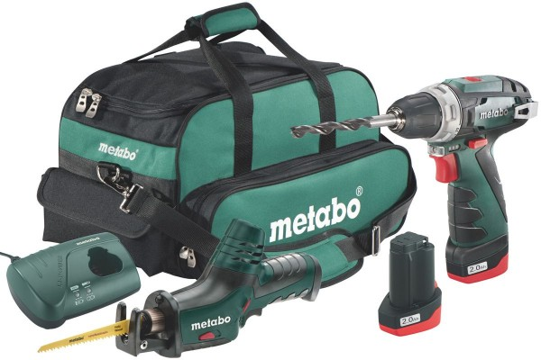 Metabo 10,8 V Akku Bohrschrauber PowerMaxx BS + Akku Säbelsäge PowerMaxx ASE