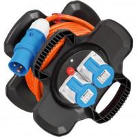 Brennenstuhl CEE kabelhaspel X-Gum / Camping kabelhaspel met 10m kabel in oranje (Caravan kabelhaspel met 2 CEE stopcontacten + 3 beschermcontactdozen, voor...
