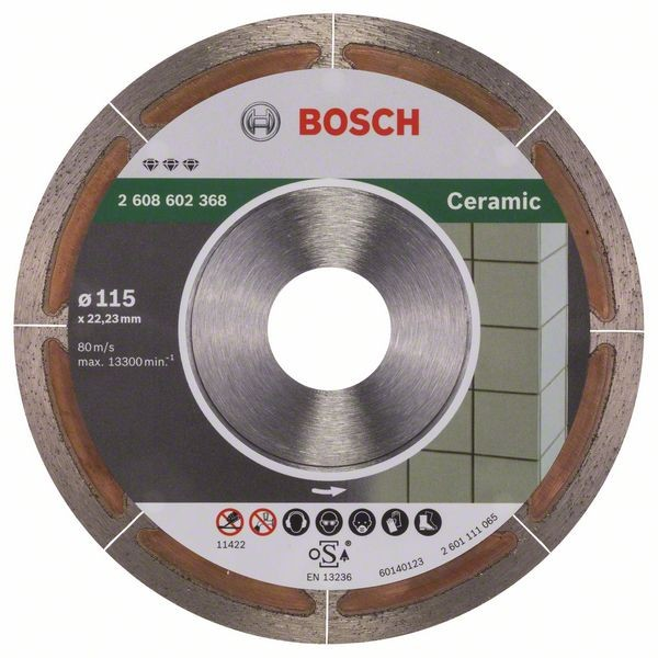 Bosch Diamanttrennscheibe Best for Ceramic Extra-Clean, 115 x 22,23 x 1,2 x 5 mm