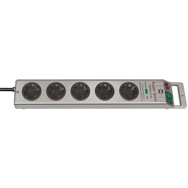 Brennenstuhl Super-Solid 13.500A presa multipla con protezione di sovratensione 5 prese argento 2,5m H05VV-F 3G1,5