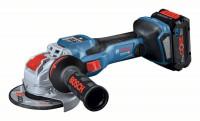 Bosch Smerigliatrice angolare a batteria BITURBO, X-LOCK GWX 18V, 2 x batterie 5.5Ah, caricabatteria - 06019H6502