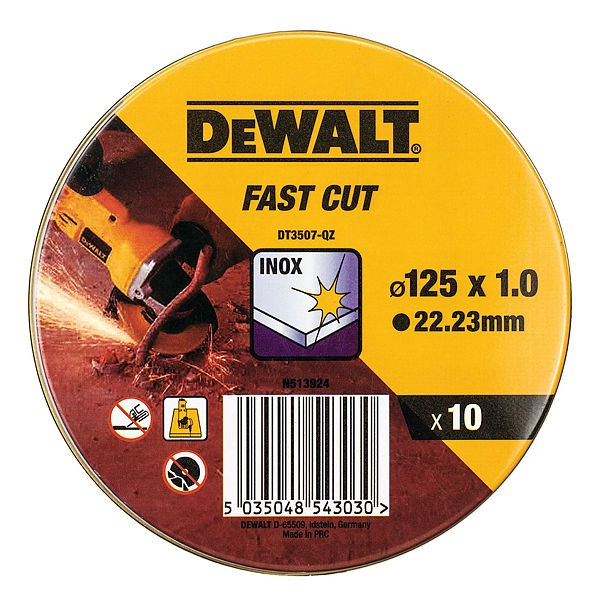 DeWALT Dischi abrasivi per taglio inox 125 mm x 1.0 mm, 10 pezzi - DT3507-QZ