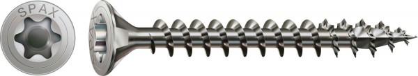 Spax Vite di acciaio inossidabile, 3,5 x 25 mm, 200 pezzi, Filettatura piena, Testa svasata, T-STAR plus T15, 4CUT, Acciaio inossidabile A2 - 1197000350253
