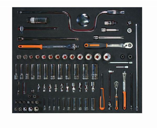 """Bahco Werkzeugeinlage 3/3 Modul, Steckschlüssel-Einsätze & Zubehör, Zoll 1/4"""" & 3/8"""", 83 Tlg - FF1A13"""
