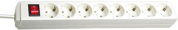 Brennenstuhl Prolongateur multiprise Eco-Line avec interrupteur, câble 1,5 mm² Ø , 8 prises Blanc