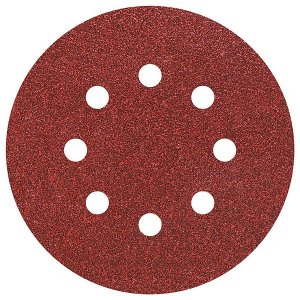 Wolfcraft Dischi abrasivi velcro, corindone grana 80, perforati, 25 pezzi, ø 125 mm - 2070100