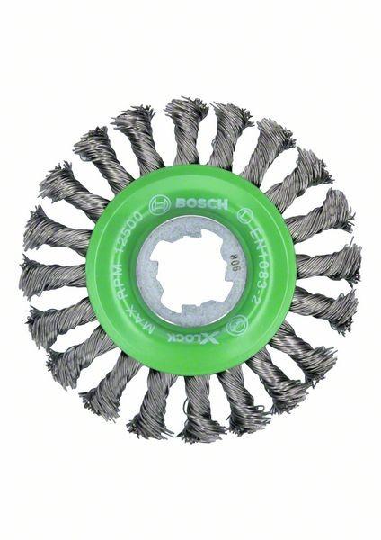 Bosch Spazzola a disco X-LOCK intrecciata 115 acciaio inox, 0,5 mm, X-LOCK - 2608620733