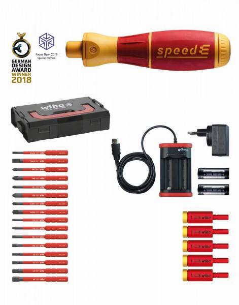 Wiha E-schroevendraaier set 3 speedE assorti 25-delig in L-Boxx Mini met slimBits, easyTorque-adapter, accu's en oplader EU (41913)