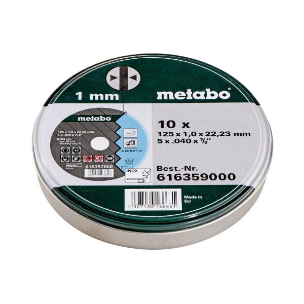 """Metabo Juego=10xdiscos de cortar """"SP"""" 125x1,0x22,23 Inox, TF 41 , en lata de chapa (616359000)"""