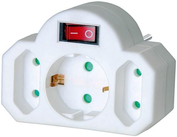 Brennenstuhl Adaptador, interruptor de encendido, 2 + 1 tomas de corriente - 1508100