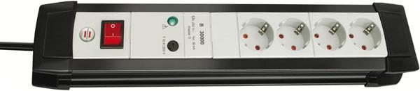 Brennenstuhl Premium-Line protection de surtension 30.000 A 4 prises noir/ gris clair 1,8 m H05VV-F 3G1,5