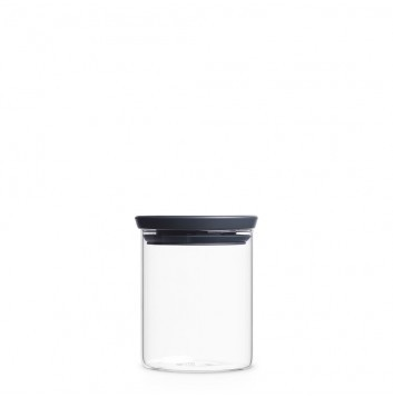 Brabantia Glasbehälter 0,6 L / Deckel dark grey - Transparent