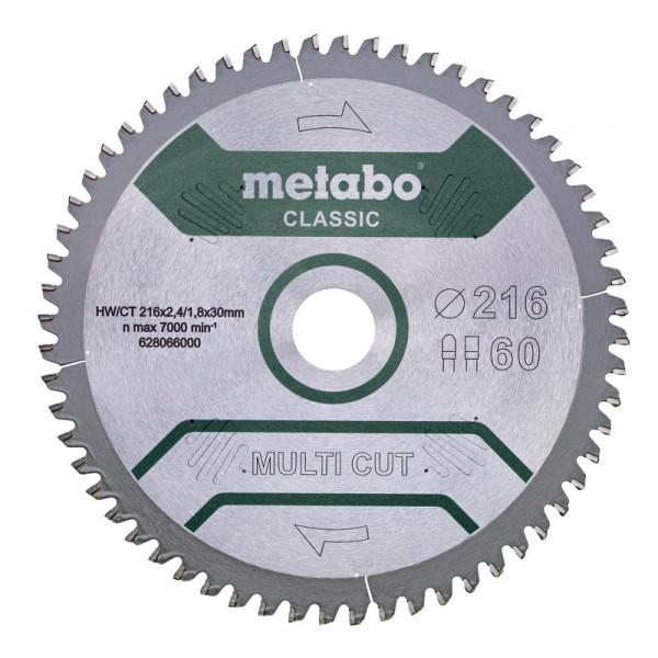 "Metabo Sägeblatt ""Multi cut - Classic"", 216x30, Z60 FZ/TZ, 5°neg. - 62806600"