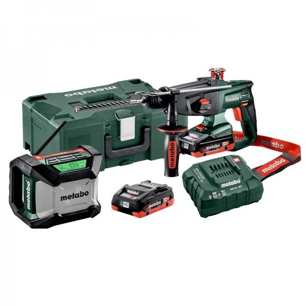 Metabo 18V Akku-Kombihammer Set KHA 18 LTX + Akku-Baustellenradio R 12-18 BT, 2x 4,0 LiHD, in Metaloc - 691077000