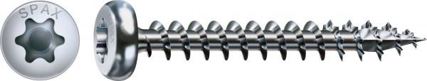 Spax Universalschraube, 3,5 x 25 mm, 1000 Stück, Vollgewinde, Halbrundkopf, T-STAR plus T15, 4CUT, WIROX - 0201010350255