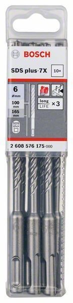 Bosch Hammerbohrer SDS-plus-7X, 6 x 100 x 165 mm, 10er-Pack - 2608576175
