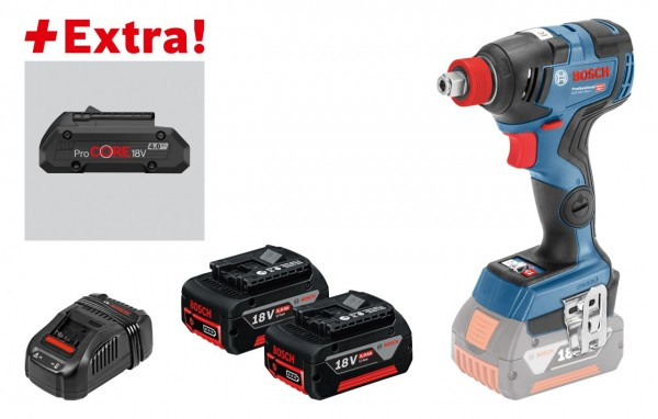 Bosch Professional Accudraaislagmoeraanzetter GDX 18V-200 C, 2x5,0Ah accu, ProCORE18V 4.0Ah, L-BOXX - 0615990K7G