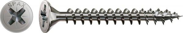 Spax Vite di acciaio inossidabile, 4 x 20 mm, 200 pezzi, Filettatura piena, Testa svasata, Intaglio a croce Z2, 4CUT, Acciaio inossidabile A2 - 1087000400203