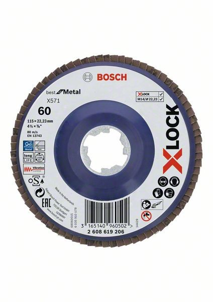 Bosch Dischi lamellari X-LOCK, versione dritta, piastra in plastica Ø115 mm, G 60, X571, Best for Metal, 1 pz. - 2608619206