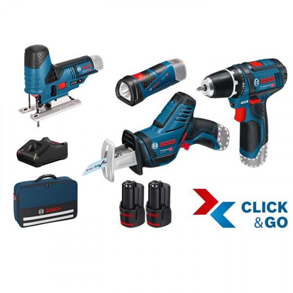 Bosch Professional Juego de herramientas de 4 piezas 12V: GSR + GSA + GST + GLI + 2 x GBA 12V 2.0Ah + GAL - 0615990M06