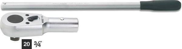 Hazet Umschalt-Knarrenkopf mit Drehstange - Gesamtlänge: 620 mm - Anzahl Werkzeuge: 2 - 1016/2