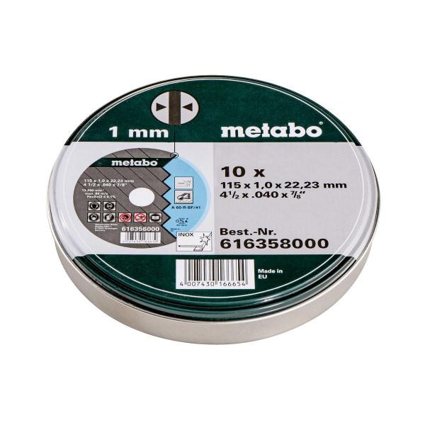 """Metabo Juego=10xdiscos de cortar """"SP"""" 115x1,0x22,23 Inox, TF 41, en lata de chapa (616358000)"""