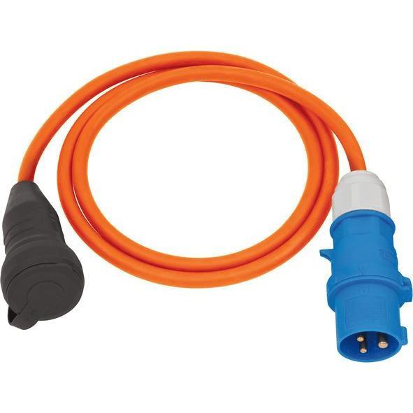 Brennenstuhl Camping-Adapterkabel mit CEE-Stecker und Schutzkontakt-Kupplung 230V/16A, 1,5m Kabel in orange - 1132920025
