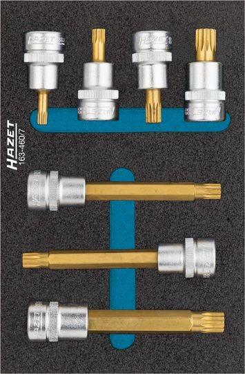 Hazet Schraubendreher-Steckschlüsseleinsatz-Satz - Vierkant hohl 10 mm (3/8 Zoll) - Innen Vielzahn Profil XZN - Anzahl Werkzeuge: 7 - 163-460/7